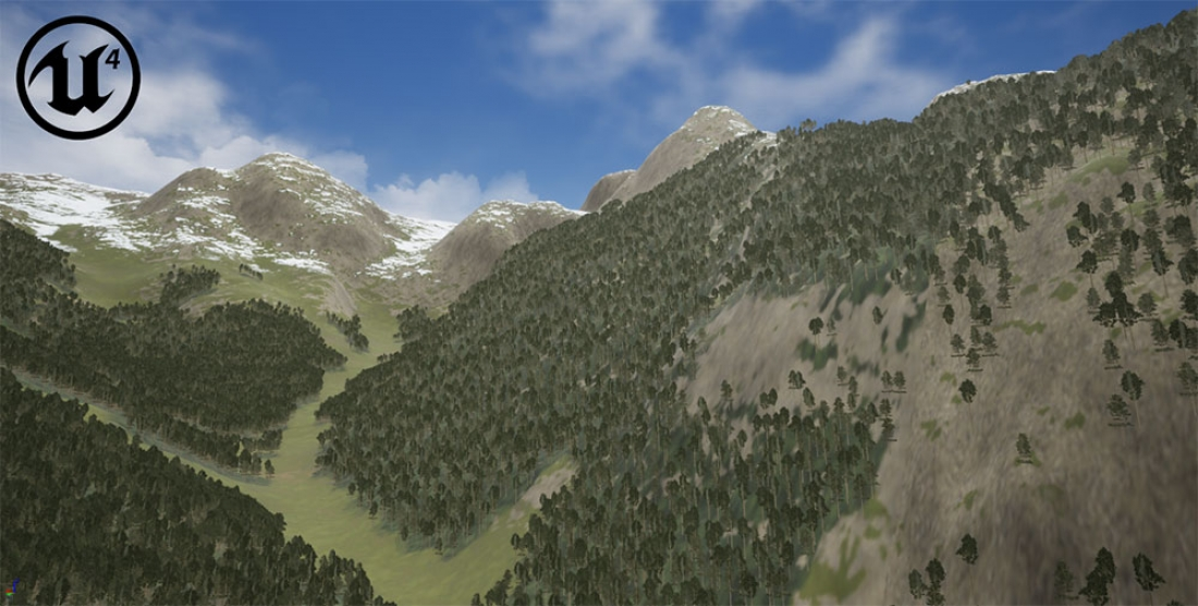 VBS4 Alps terrain correlated with Unreal