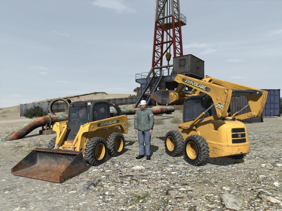 3D model skid steer with construction worker