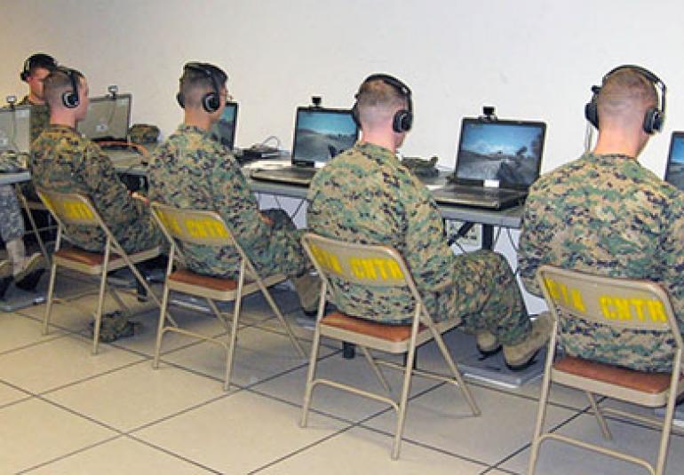 U.S. Marines dismounted infantry training at USMC's Camp LeJeune virtual training military simulation