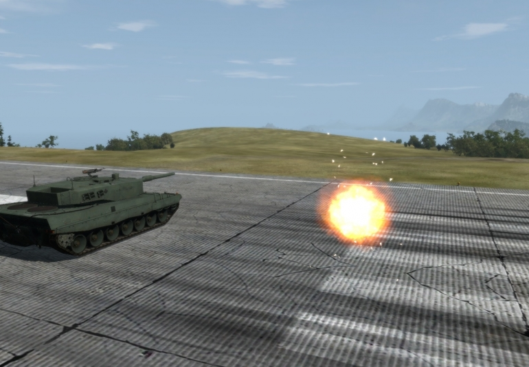Virtual Active Protection System Destroys Incoming Projectile VBS3 tank experimentation Norway FFI