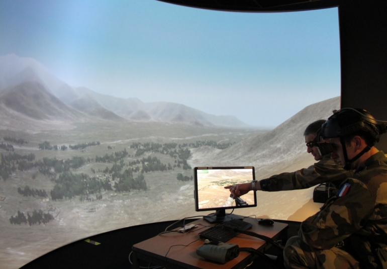 FAC French Air Force Forward Air Controller JTAC military simulation training display systems projection systems