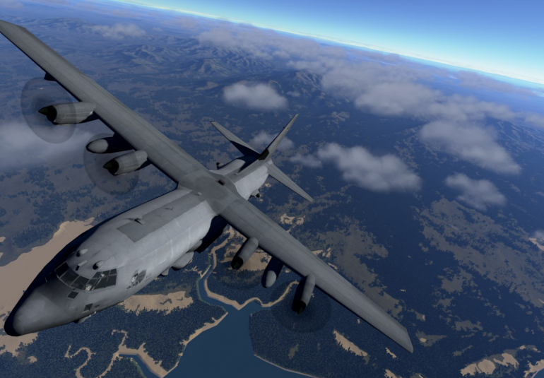 AC-130 virtual training high-fidelity 3D cockpit virtual open world military simulation