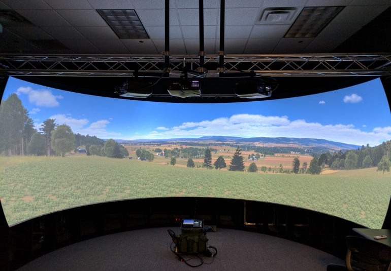 VBS Blue IG on image generator dome display for military simulation virtual training