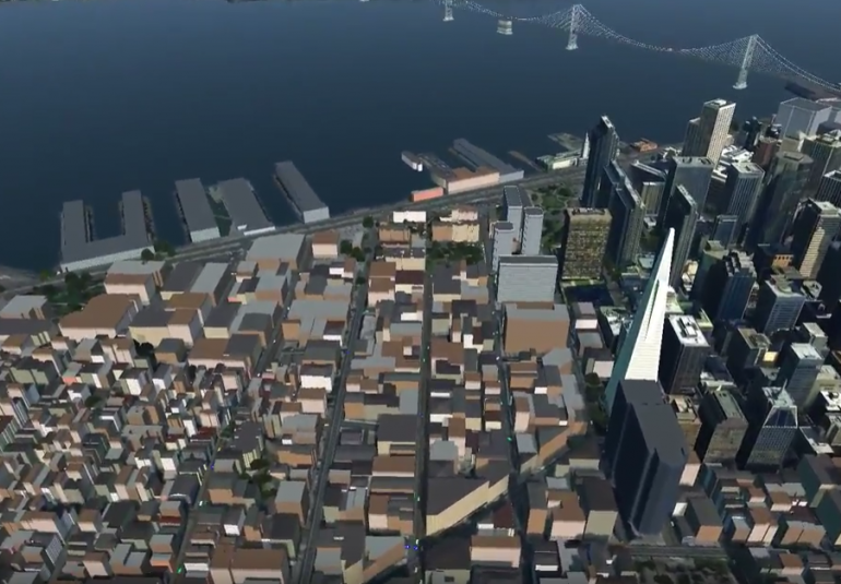 San Francisco in VBS Blue virtual open world 3D earth for military training and simulation