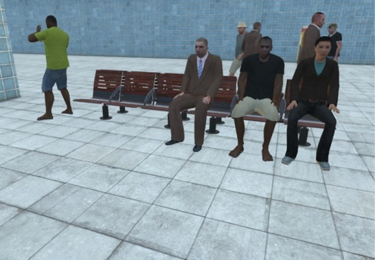 Artificial intelligence pattern of life behaviors include waiting on a bench in VBS3 virtual simulation