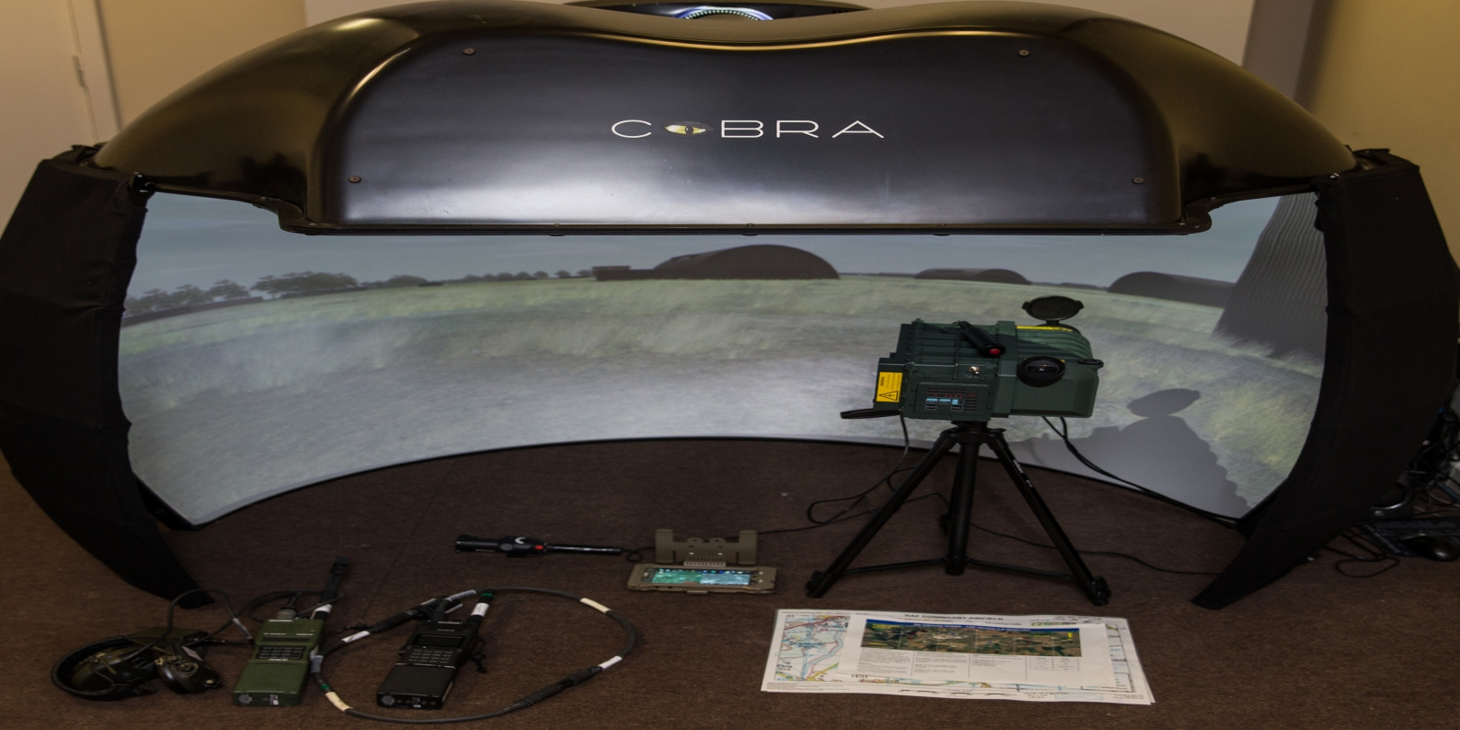 Deployable Cobra JTAC system, with Harris 152 radio and 7800-T downlink receiver, emulated LF28 LTD, emulated IZLID Ultra laser pointer and ATAK, pushing situational awareness software and downlinks.
