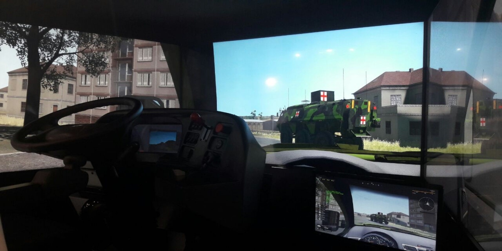Trainees see the VBS3 virtual environment on a 200 degree viewing angle